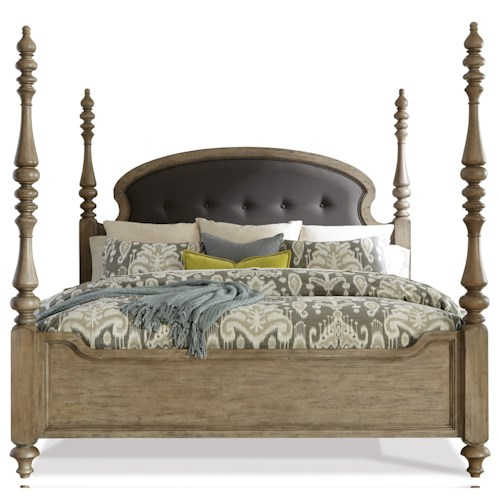Riverside Furniture Corinne King Upholstered Poster Bed in Sun-Drenched Acacia Finish