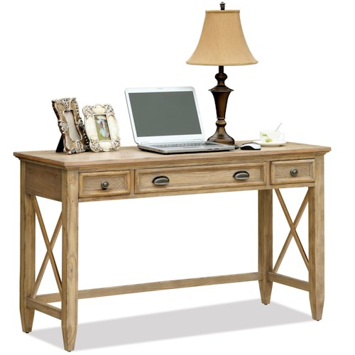Riverside Furniture Coventry Writing Desk with 3 Drawers & Outlet Powerbar
