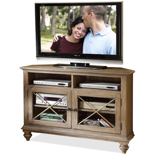 Riverside Furniture Coventry 2 Door Corner TV Console with 2 Shelves
