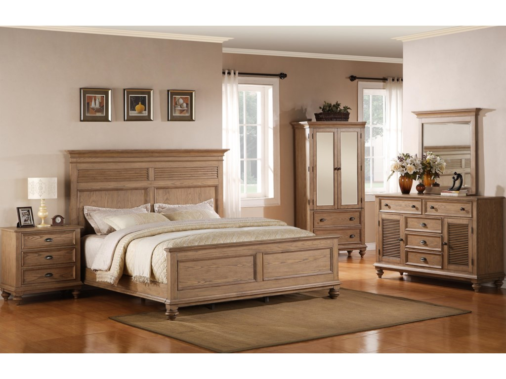 Shown with Night Stand, Panel Bed, Armoire & Mirror