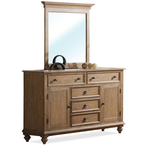 Riverside Furniture Coventry Panel Door Dresser & Mirror Set