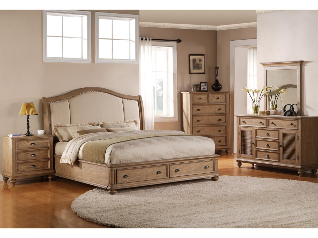 Shown with Night Stand, Upholstered Bed & Chest