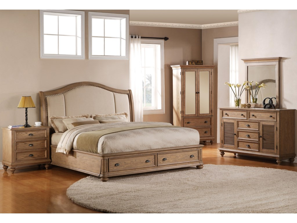 Shown with Upholstered Storage Bed, Armoire, Dresser & Mirror