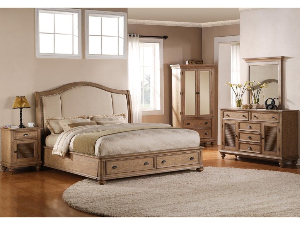 Shown with Upholstered Bed, Armoire, Dresser & Mirror
