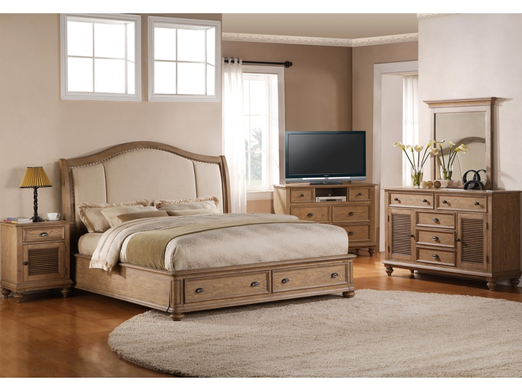 Shown in Bedroom with Night Stand, Armoire, Dresser & Mirror