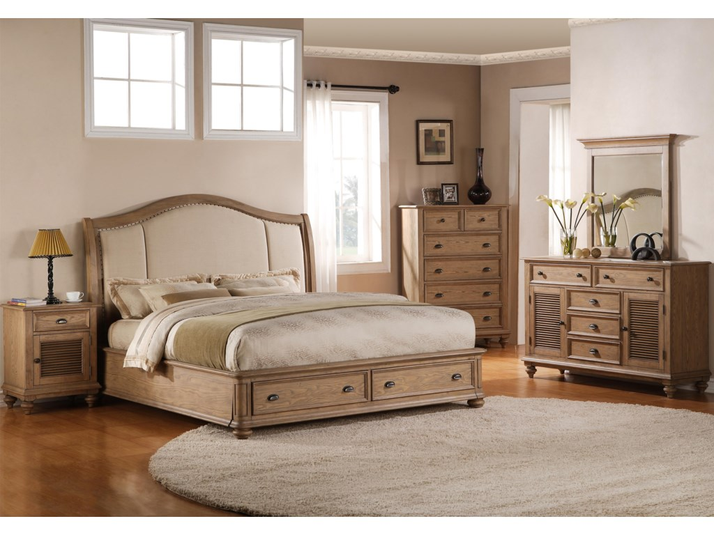 Shown in Bedroom with Night Stand, Chest, Dresser & Mirror