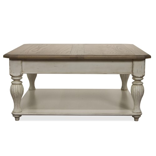 Riverside Furniture Coventry Two Tone Square Lift-Top Coffee Table with Fixed Bottom Shelf