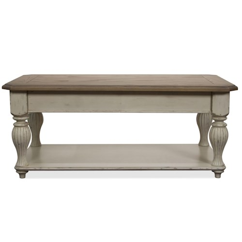 Riverside Furniture Coventry Two Tone Lift-Top Rectangular Cocktail Table with Fixed Bottom Shelf