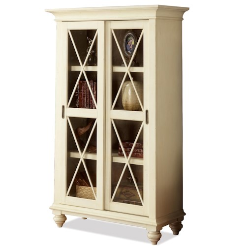 Riverside Furniture Coventry Two Tone Sliding Door Bookcase with 4 Shelves