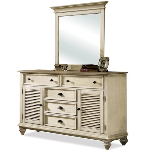 Riverside Furniture Coventry Two Tone Shutter Door Dresser & Framed Bevel Mirror