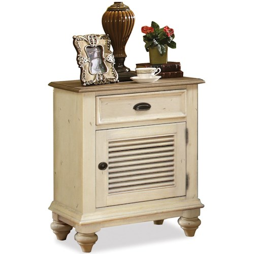 Riverside Furniture Coventry Two Tone Shutter Door Nightstand with 1 Drawer & 2 Shelves