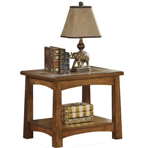 Riverside Furniture Craftsman Home Side Table with Slate Tile Boarder
