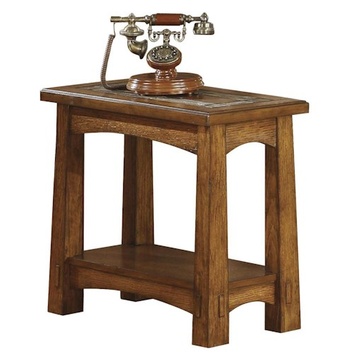 Riverside Furniture Craftsman Home Chairside Table with Slate Tile Boarder