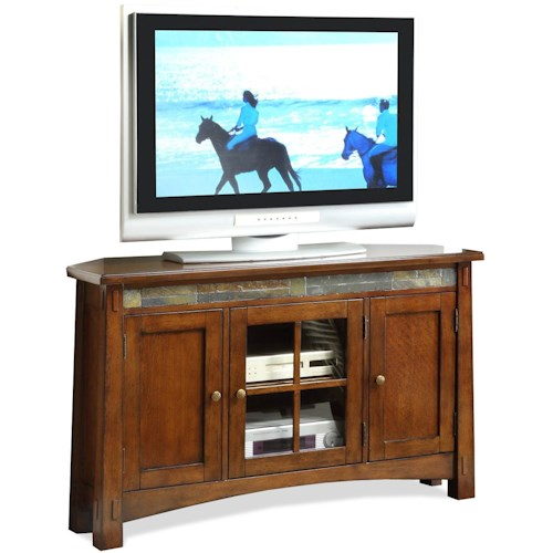 Riverside Furniture Craftsman Home 3 Door Corner TV Console with Front Slate Tile