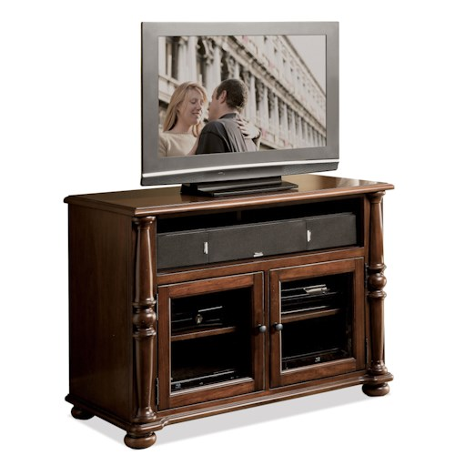 Riverside Furniture Dunmore 42-Inch TV Console with 2 Beveled Glass Doors and Wiring Access