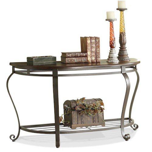 Riverside Furniture Eastview Demilune Sofa Table w/ Metal Base