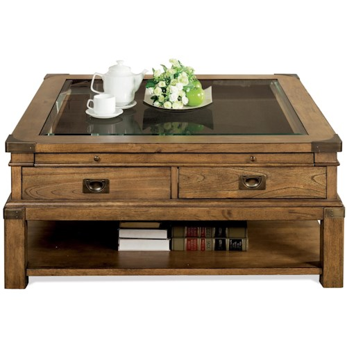 Riverside Furniture Falls Creek 3 Drawer Square Cocktail Table