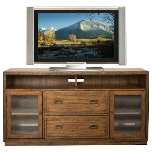 Riverside Furniture Falls Creek TV Console with 2 Glass Insert Doors