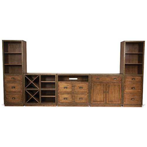 Riverside Furniture Falls Creek Theater Wall Unit in Chestnut Finish