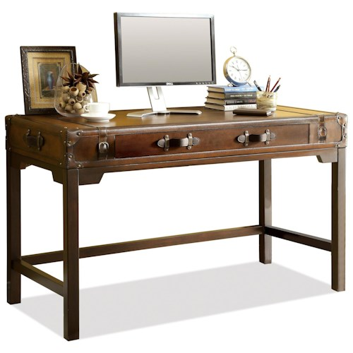 Riverside Furniture Latitudes Suitcase Writing Desk with Drop with Drop Front Door