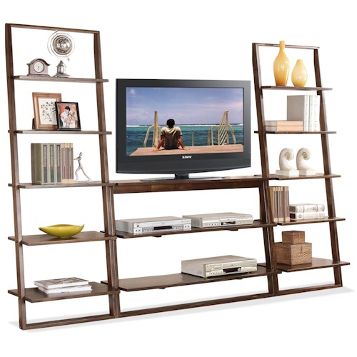 Riverside Furniture Lean Living Open Entertainment Wall Unit with 12 Shelves