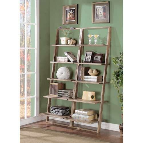 Riverside Furniture Lean Living Leaning Bookcase Set