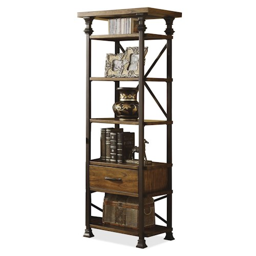 Riverside Furniture Lennox Street Metal Frame Etagere with 1 Drawer & 5 Shelves