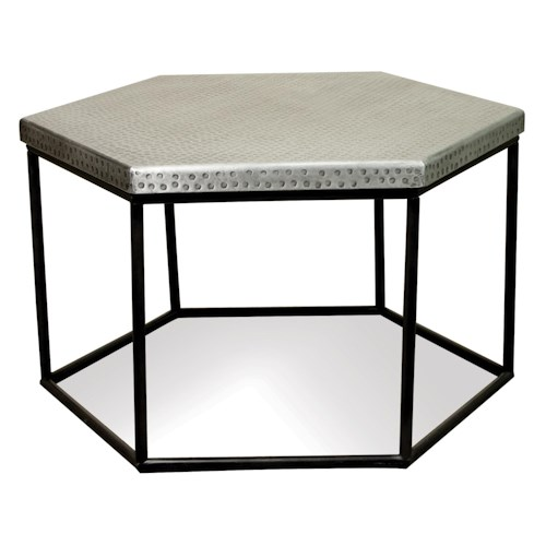 Riverside Furniture Lyric Hammered Metal Hexagon Coffee Table