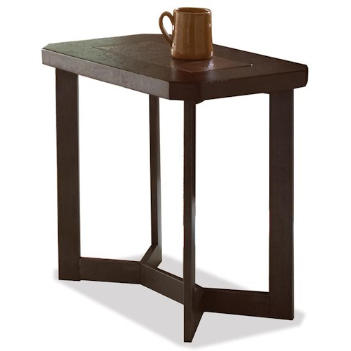 Riverside Furniture Madeira Chairside Table with Authentic Copper Insert Top