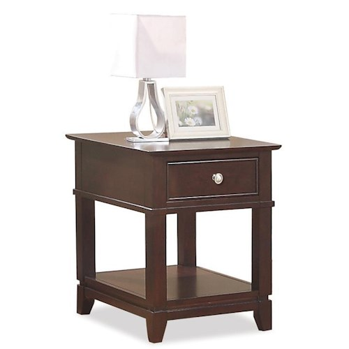 Riverside Furniture Marlowe End Table with 1 Drawer and 1 Lower Shelf