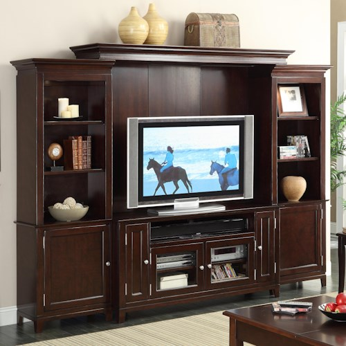 Riverside Furniture Marlowe Entertainment Wall Unit with 2 Piers