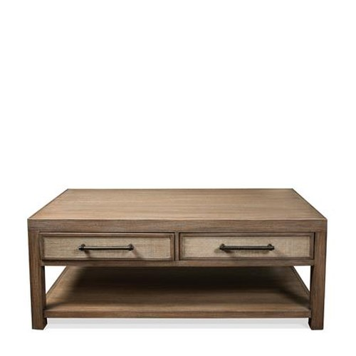 Riverside Furniture Mirabelle 2 Drawer Coffee Table with Woven Cane Drawer Fronts