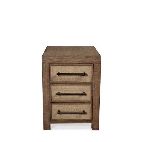 Riverside Furniture Mirabelle 3 Drawer Chairside Table with Woven Cane Fronts