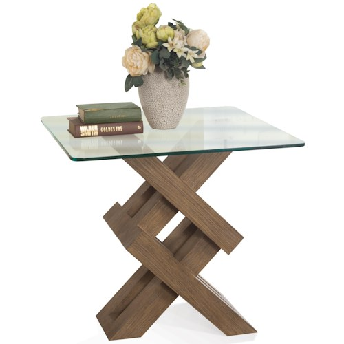 Riverside Furniture Mirabelle Glass Top Side Table with Geometric Base