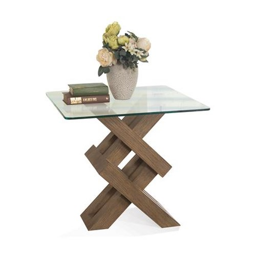 Riverside Furniture Mirabelle Square End Tabl-Wood Base