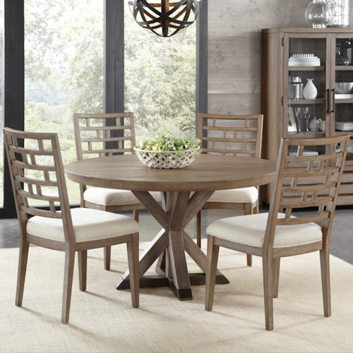 Riverside Furniture Mirabelle 5 Piece Round Table and Lattice Back Chair Set