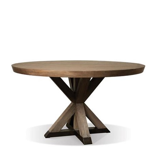 Riverside Furniture Mirabelle Round Dining Table with Geometric Pedestal Base