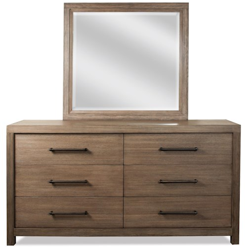 Riverside Furniture Mirabelle 6 Drawer Dresser and Landscape Mirror Combo