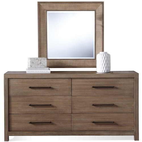 Riverside Furniture Mirabelle 6 Drawer Dresser and Accent Mirror Combo