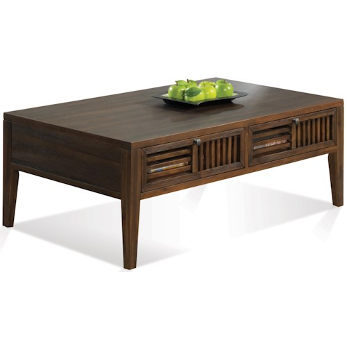 Riverside Furniture Modern Gatherings Open Slat Coffee Table with 2 Drawers
