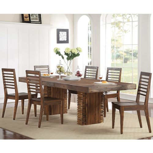 Riverside Furniture Modern Gatherings 7 Piece Double Pedestal and Slat Back Chair Set