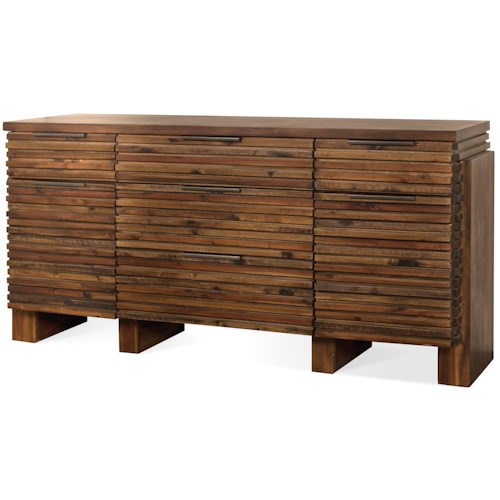 Riverside Furniture Modern Gatherings 5 Drawer Sideboard in Brushed Acacia Finish