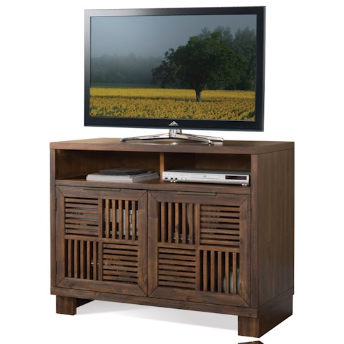 Riverside Furniture Modern Gatherings Media Chest with 2 Open Slat Doors