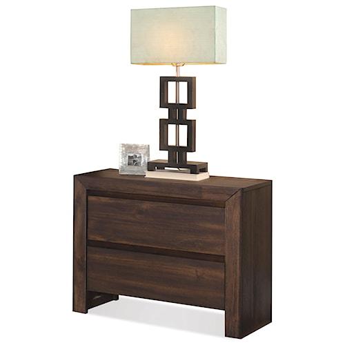 Riverside Furniture Modern Gatherings 2-Drawer Nightstand in Brushed Acacia Finish
