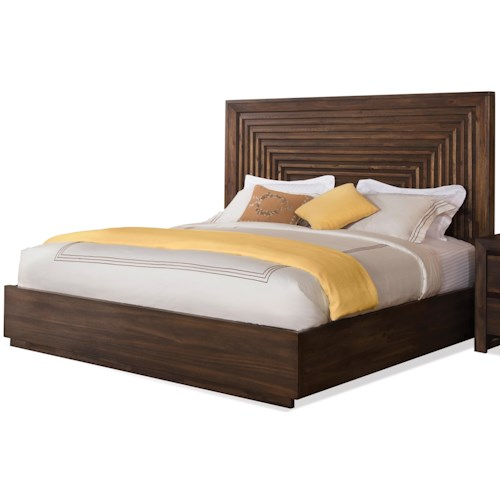 Riverside Furniture Modern Gatherings King Platform Panel Bed with Grooved Headboard