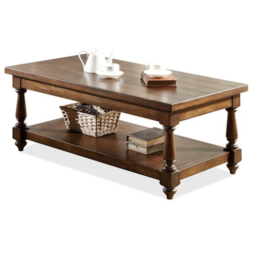 Riverside Furniture Newburgh Rectangular Cocktail Table with Lower Shelf