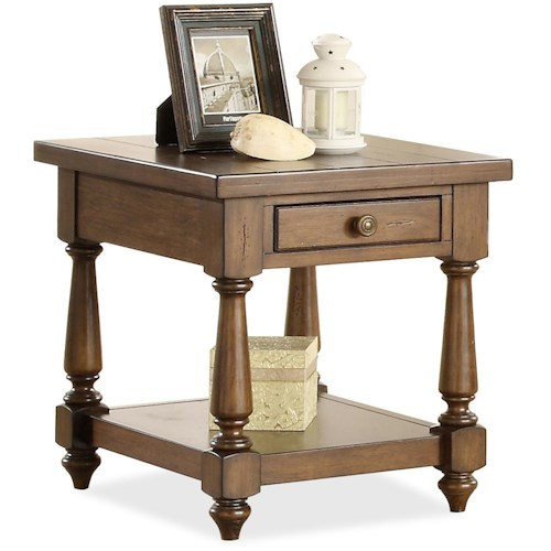 Riverside Furniture Newburgh End Table with Lower Shelf