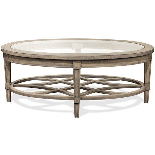 Riverside Furniture Parkdale Oval Cocktail Table with Decorative Open Slat Bottom Shelf