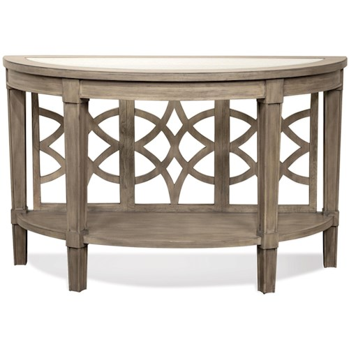 Riverside Furniture Parkdale Demilune Sofa Table with Decorative Open Slat Back Panel