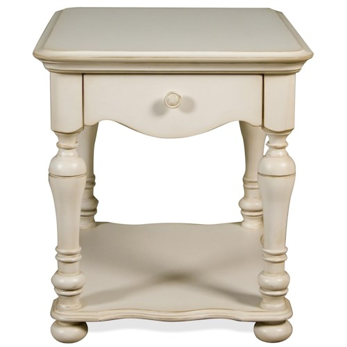 Riverside Furniture Placid Cove 1 Drawer Rectangular End Table with Bottom Shelf